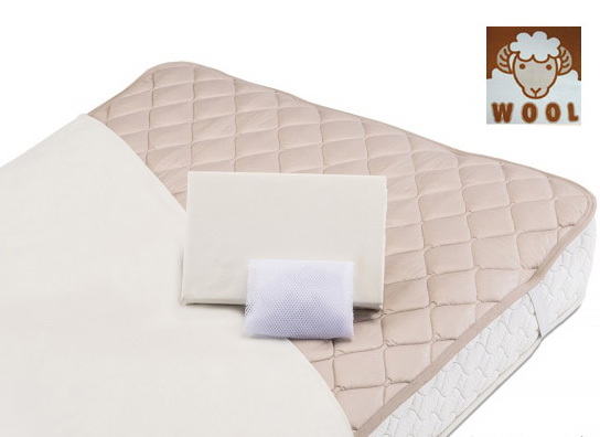 グッドスリーププラス・ウール 羊毛三点パック キング フランスベッド ベッドインバッグW 羊毛パッド&シーツ2枚セット 布団カバーセット マットレスカバー寝具 4色対応 ベーシック スタンダード