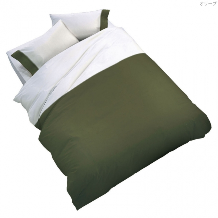 フランスベッド UR-021 アージクロス ダブル グリーンオリーブ・ホワイト 布団カバー マットシーツ コンフォーターケース・ピローケース・ボックスシーツセット 寝装品 送料無料