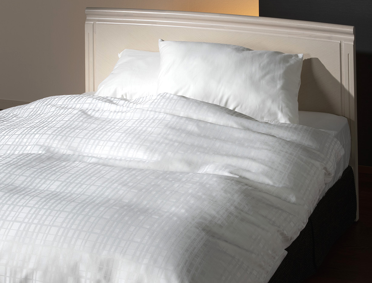 フランスベッド ホテルズセレクト ウィレットストライプ ダブル ホワイト グレー 布団カバー マットシーツ コンフォーターケース・ピローケース・ボックスシーツセット 寝装品 送料無料