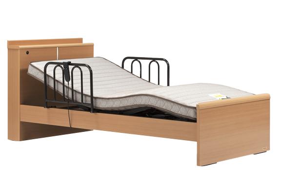 フランスベッド イーゼル004C 1モーター 電動ベッド 電動リクライニング 棚付き・照明 手すり付き ウェイクアップベッド シングル 設置組立てサービス付き