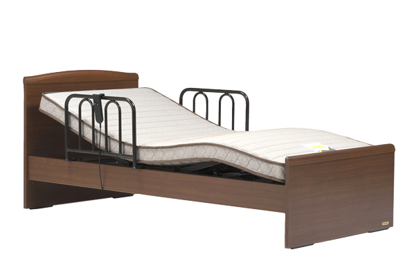 フランスベッド イーゼル002F 1モーター 電動ベッド 電動リクライニング フラット 手すり付き ウェイクアップベッド シングル 設置組立てサービス付き