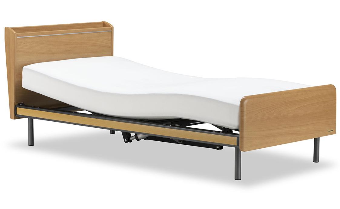 フランスベッド クォーレックスCU-102C 1モーター 電動ベッド 電動リクライニング 棚付き・照明 手すり付き ウェイクアップベッド シングル 設置組立てサービス付き