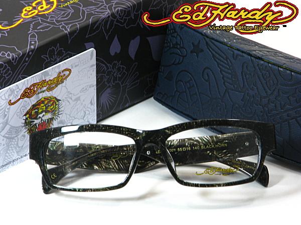【本物】送料無料・エド・ハーディー【Ed Hardy】度付きレンズ付メガネセット【EHOA-004-BLACK-HORN】