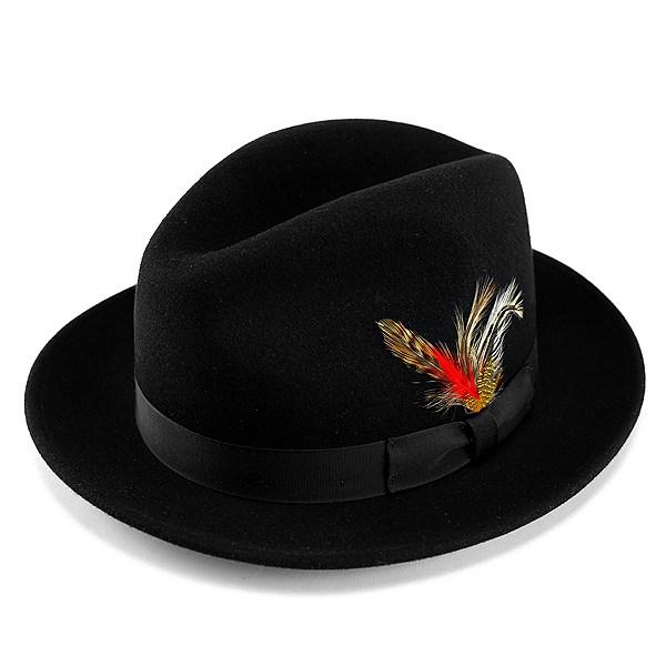 ハット メンズ New York Hat ( ニューヨークハット ) 帽子 ワイドブリム中折れハット The Fedora フェルトハット ブラック 黒 (カワイイ 秋冬用 秋冬商品 ぼうし ハット 中折れ帽 フェルトハット トレンド 羽根飾り) 送料無料 [fedora] フェルト
