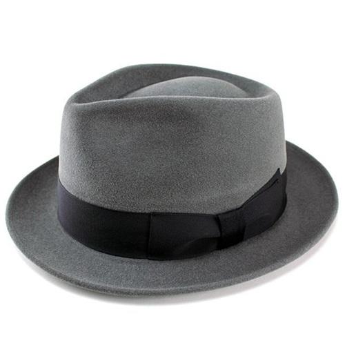 帽子 メンズ 高級フェルトハット 兎毛 帽子 中折れハット ウール 帽体 レディース 帽子 ハット グレー FUJI HAT フジハット [fedora] 送料無料 (大きいサイズ フェルト 帽子 ぼうし 中折れ帽 フエルト フエルトハット 贈り物 お父さん 贈物 おくりもの)