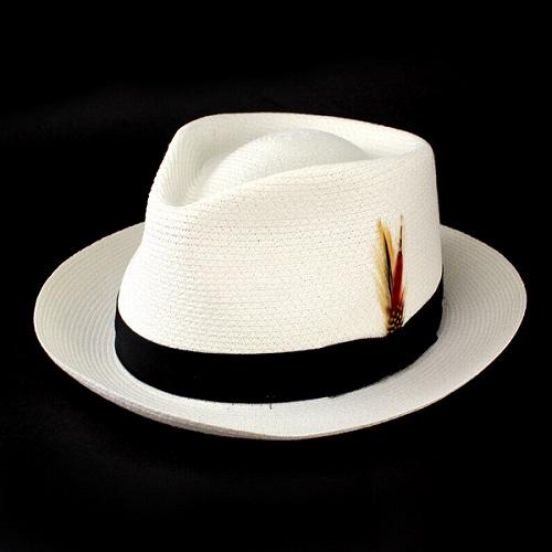 New York Hat ストローハット リボン 羽根付き ニューヨークハット 天然 麦わら帽子 白 アメリカ製 サマーハット 紳士 オフホワイト オフ白 [ straw hat ]30代 40代 50代 ファッション 通販 帽子
