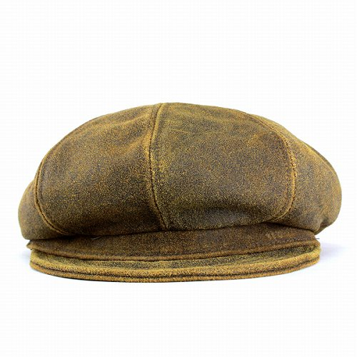 82a1cef9 ... Hunting caps men hats New York Hat antique cowhide leather newsboy  Brown ANTIQUE LEATHER SPITFIRE 9245 ...