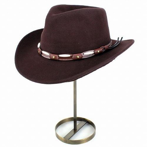 カウボーイハット メンズ 大きいサイズあり ヘンシェル 秋冬 帽子 フェルト HENSCHEL テンガロンハット カウボーイ ウエスタンハット ウール レザーベルト 茶 ブラウン 秋冬 帽子 ハット テンガロン ウェスタンハット [cowboy hat] フェルトハット フェルト ハット