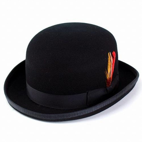 ニューヨークハット 帽子 メンズ ボーラーハット フェルトハット 大きいサイズあり Classic Derby 5007 紳士ハット フェルト New york hat 帽子 紳士 ダービーハット 羽根付き フォーマル / ブラック 黒[ boater hat ][ felt hat ]