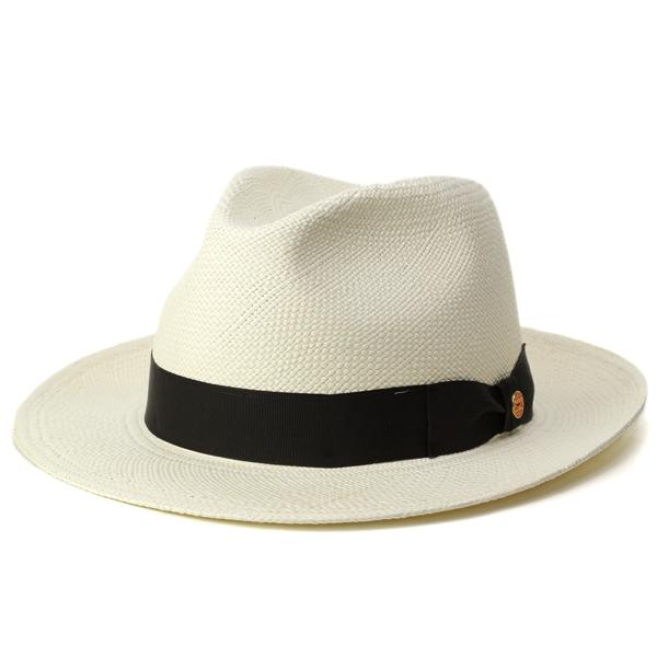 パナマハット メンズ ハット 夏 MAYSER 帽子 パナマ帽 紳士 ワイドブリム マイザー 本パナマ 天然草100% ドイツ ブランド 中折れハット スロバキア製 高級 ストローハット 大人 黒 リボン / ホワイト ブリーチ [ panama hat ]1212521 m212521