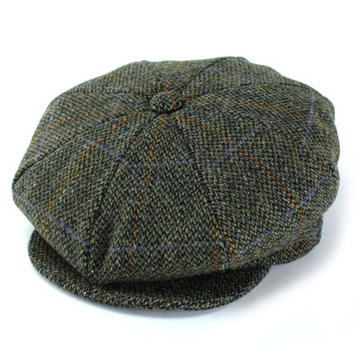 Newsboy Hat New York Harris Tweed Hat autumn/winter wool / 9095 / NewsBoy /  green (Harris Tweed autumn/winter for fall/winter merchandise Hat Cap