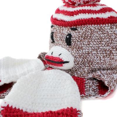 Sock Monkey kids knit hat animal knit Cap San Diego Hat kids Hat monkey  scarf knit KIDS knit cap SOCK MONKEY monkey (hat CAP and stylish fashion  store