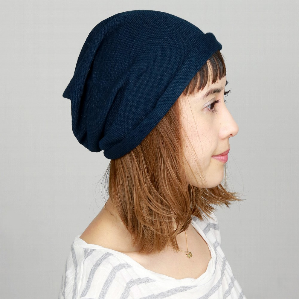 Hats / men's / knit Cap / summer / women 's/Le MILIEU / brand / Hat / Le-milieu / cotton hemp NetWatch / Hat / women's / knit / long Misael / Navy (Cap and knit Cap evisu Cap evisu Cap summer Kamon Cap watch cool summer fall)