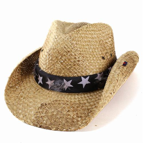 ELEHELM HAT STORE  Cowboy hat mens ladies PETER GRIMM Peter Grimm hats  stars and stripes bandana wrapped used processing spring summer   straw hat  Western ... 4e3e8314522