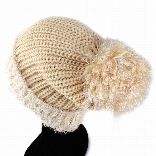 d3c1568b467 Cute knit hat Cap fancy feminine with women s knit hats stylish fashion  beige (knit hat sweets birthday gift winter Hat knit fashion popular cute  kawaii)