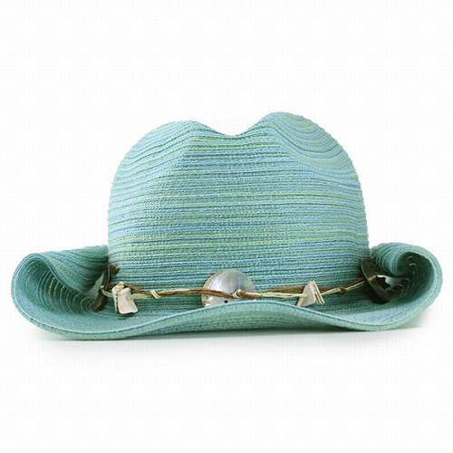 49f529b34cc Hat ladies SCALA scalar Plains cowboy spring summer shell with sea shells  Aqua (light blue) women s cowboy accessory gift gifts Hat resort casual  (40s 30s ...