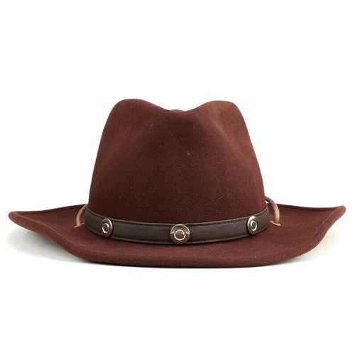 eb18600638699 Hat men s cowboy hat ladies Cap mens Western wool felt Fedora chinstrap  with winter wide brim hat and fall one size fits all Brown Brown