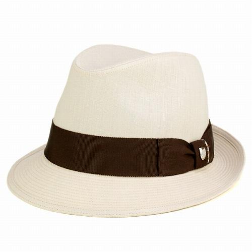 帽子 メンズ ハット アイリッシュリネン DAKS 高級ハット 日本製 ダックス 中折れハット ハードマンズ 麻 フォーマル 男性 ギフト 上品 リボン ハット 無地 シンプル 56cm 58cm 60cm 中折れ帽 紳士 英国ブランド 茶リボン / ベージュ [ fedora ] ギフト プレゼント
