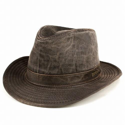 ハット 帽子 メンズ ワイドブリム インディ・ジョーンズ UPF50+ 中折れハット フェドラ ぼうし インポート INDIANA JONES レザー風生地 ダークブラウン 紳士 男性用 ギフト アウトドア [fedora] (通販 ぼうし 中折れ帽)