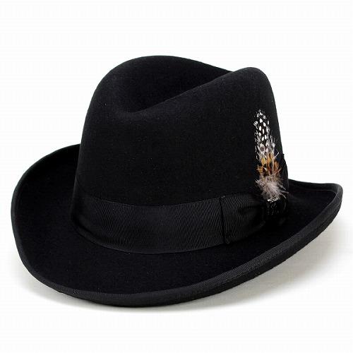 ハット メンズ ホンブルグハット ステイシーアダムス 中折れ帽 インポート STACY ADAMS 秋 ぼうし 冬フォーマル ドレッシー 帽子 ブラック 紳士 男性用 小物 プレゼント ギフト 上品 [fedora] フェルトハット フェルト ハット