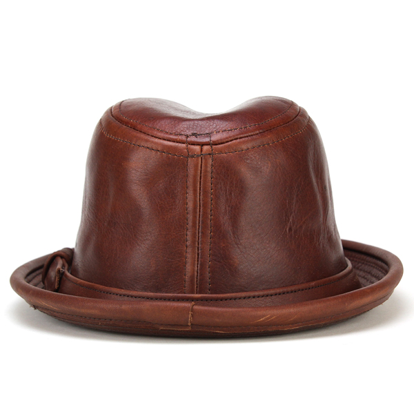 5d07ab90491d1 New York Hat Hat mens leather vintage style and leather short brim   9290 Vintage  Leather Fedora   red tea brandy NewYorkHat Hat