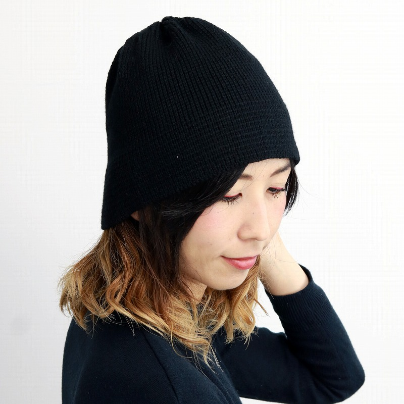 681b3744660 The   black black  beanie cap  man hat present Christmas gift that a hat of  the aguru knit hat ニットワッチアルパカ blend knit hat Lady s 2way cold ...