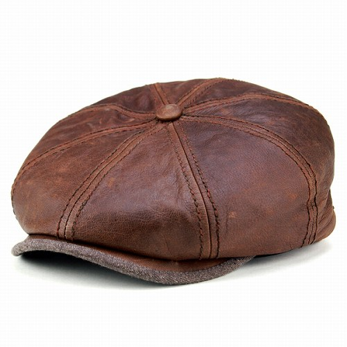 4561afede5172 ELEHELM HAT STORE  Newsboy leather mens   Stetson classic goatskin and  supple Brown Leather Brown hat and sturdy  Hatteras  (winter boyfriend men