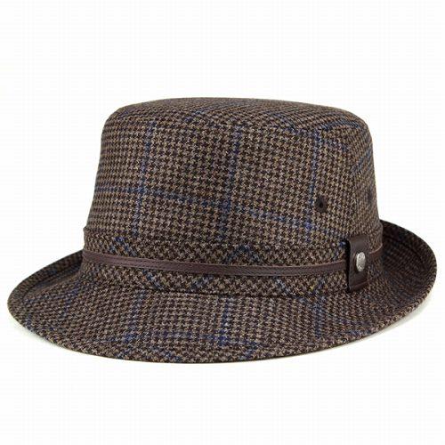DAKS アルペンハット 帽子 紳士 メンズ 千鳥柄 ハウンドトゥース ツイード エレガンスデザイン ダックス ブラウン 送料無料 [hat] 秋冬帽子