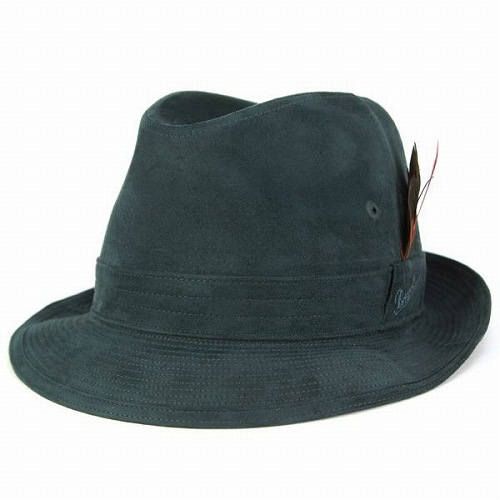 スウェード 中折れ帽子 ヌバック ボルサリーノ メンズ 帽子 ブランド Borsalino 合成皮革 エルモザ素材 鉄グリーン (日本製 中折れハット プレゼント 通販 黒 カメラマンハット メンズ 30代 50代 ボルサリーノ)