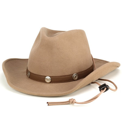 0f630d1df6c16 Hat men s cowboy hat ladies Cap mens Western wool felt Fedora chinstrap  with winter wide brim hat and fall one size fits all beige