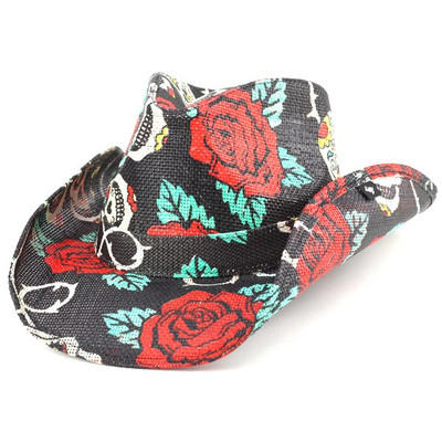 46f37a25398 Mexican skull  amp  roses cowboy hat   fedora PETER GRIMM   spring summer  pgd9203 TAINTED LOVE   black.