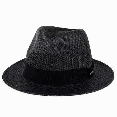 パナマハット レディース ステットソン パナマ帽 メンズ エクアドル STETSON レース編み 黒 ブラック [panama hat](メンズ中折れハット パナマ M L LL 59cm 59.5cm 61cm 中折れ帽子 メンズハット 紳士帽子 40代 50代 60代 70代 ファッション おしゃれ 男性 ぼうし)