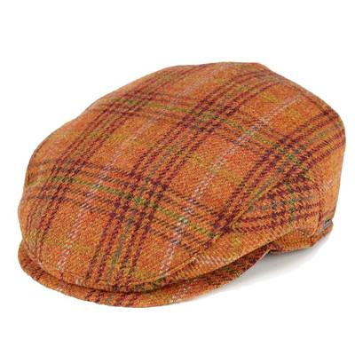ハンチング メンズ アイビーキャップ タータンチェック 帽子 秋冬 トレンド 耳あて wigens チェック柄 オレンジ ヴィゲーンズ 帽子 耳あて付き メンズ