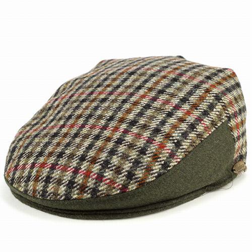 ハンチング 紳士 メンズ ダレーナ ハンチング帽 dalena 帽子 メンズ 秋冬 ガンクラブチェック ツイード 高級 上質 モスグリーン [ivy cap]
