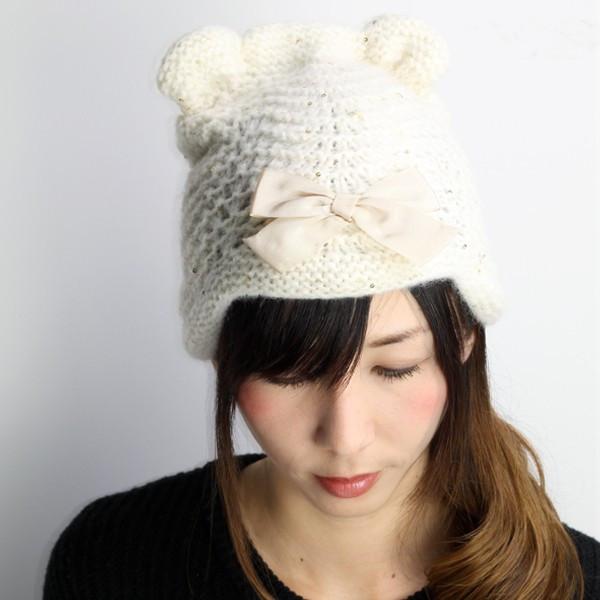 GREVI ニット帽 レディース 秋冬 グレヴィ 帽子 イタリア製 ニット ガーリー かわいい レディース ニット帽 個性的 ロリータ ファッション もこもこ くま耳 帽子 クマ スパンコール リボン 白 ホワイト (おしゃれ 帽子) [knit cap] [beanie]