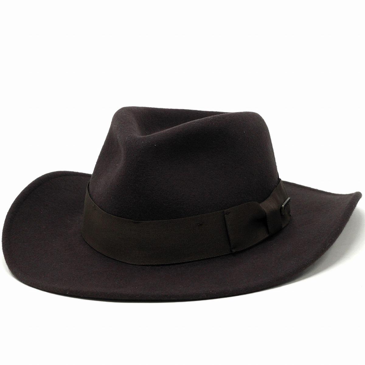 1d57897c153f2 ELEHELM HAT STORE  Indiana Jones Hat wide brim crushable wool felt men s  outback Hat Disney winter   Brown