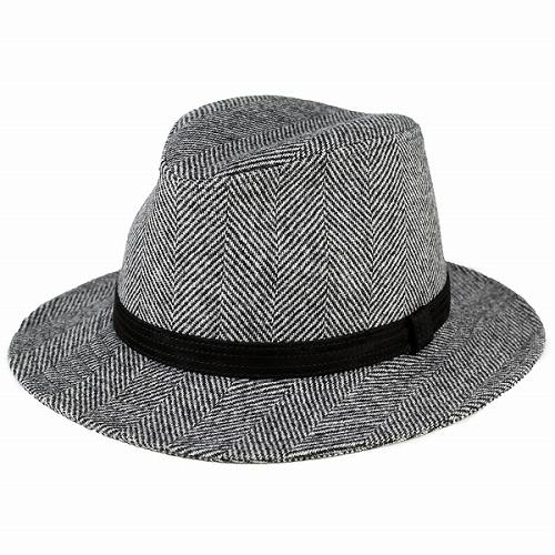 帽子 ハット メンズ ヘリンボーン ワイドブリム 中折れハット カシュケット レザーベルト 秋冬 つば広ハット メンズ ノームコア グレー (中折れ帽子) [fedora] wide-brim hat