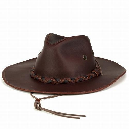 カウボーイハット 帽子 メンズ レザーハット ヘンシェル テンガロンハット クラッシャブルレザー ウエスタン チェスナット (栗色) [cowboy hat]