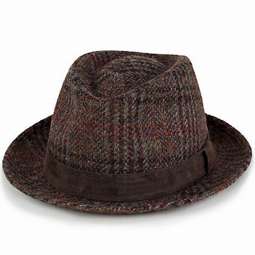 帽子 ハット メンズ 中折れハット KASZKIET ハリスツイード カシュケット レザーベルト ブラウン系 (中折れ帽子 紳士帽子 通販 男性 プレゼント ぼうし オシャレ おしゃれ 中折れ) [fedora] HARRIS TWEED