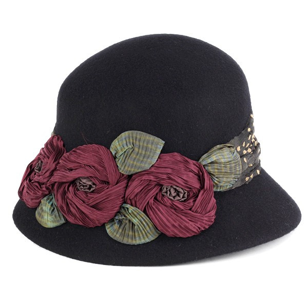 GREVI flower decoration felt Hat ladies grevi hats fall winter made in  Italy handmade black (Christmas Hat) d478cf8bc6a