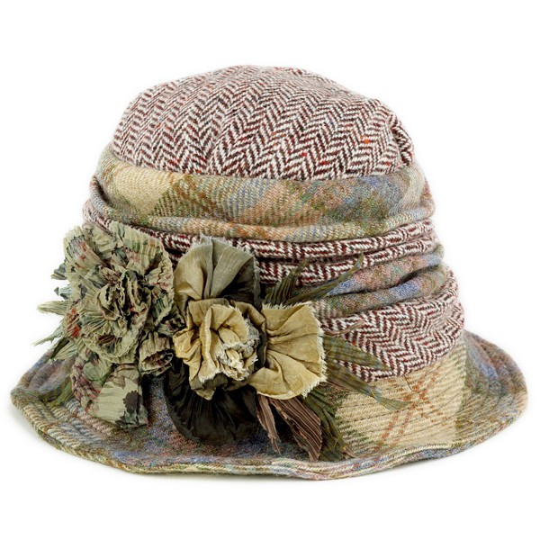 36a1f90db6f GREVI with crochet Hat ladies grevi hats flower wool made in Italy hand  made grey multi