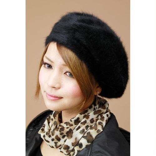 Fur beret Cap Hat women s fluffy Angora beret Cap Black (beret Hat  autumn winter ... e75dfe07231