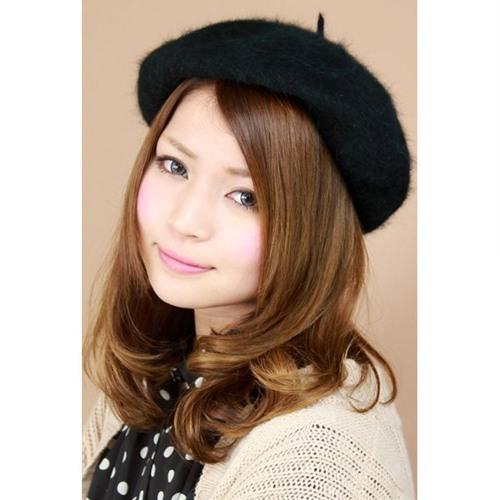 36b348ce15d49 Hat women s ladies     Angora rabbit fur   wool felt domestic beret Cap   dark  green