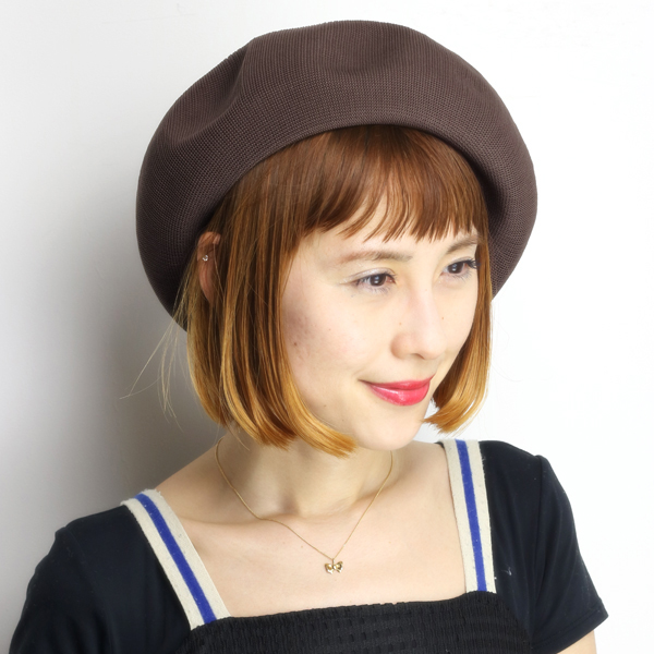 Large hats women s hats beret relaxed silhouette beret evisu spring summer  made in Japan tea Brown ... 702303b9608