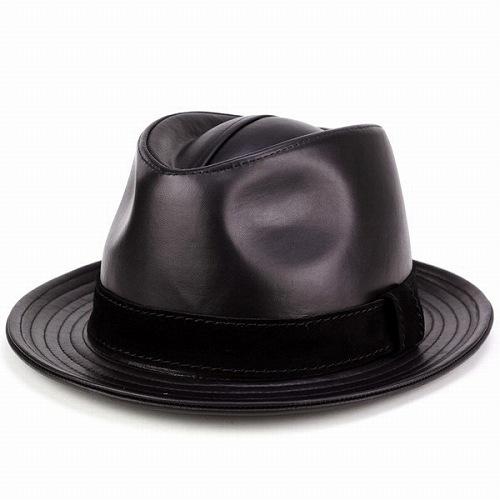 クリスマスプレゼント まだ間に合う 本革小物 KASZKIET 帽子 メンズ ハット レザー 中折れハット シープスキン 羊革 カシュケット イタリアンレザー 高級 中折れ帽 紳士 革製品 レザー ポーランド製 黒 ブラック プレゼント 父の日 贈り物 ギフト メンズ帽子 中折れ帽子 本革