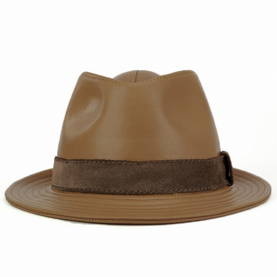 Hats mens Hat / leather tear drop Hat /KASZKIET casket / Italian leather luxury / camel