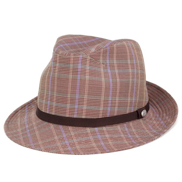 ボルサリーノ ハット メンズ 中折れハット 春 夏 帽子 チェック柄 日よけ borsalino zignone ジニョーネ グレンチェック ギフト 茶 ブラウン系 [fedora](メンズハット 紳士帽子 中折れ帽子 40代 50代 60代 70代 ファッション 男性 おしゃれ ブランド帽子 中央帽子 ぼうし)