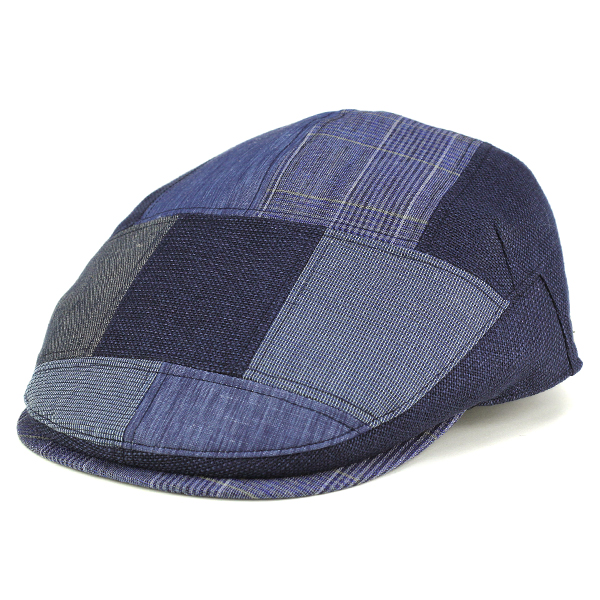 DAKS Hunting Mens Spring Summer Ducks Hat Ivycap Patchwork 30s 40s 50s 60s 70s Navy Fashion