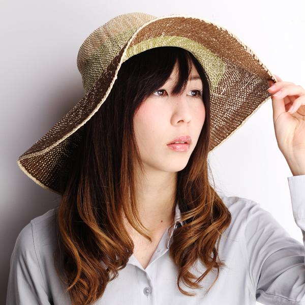 6c265b5df8451 Spit wide Hat ladies scalar actress Hat crochet hook Ed straw hat wide brim  gradient Spring Summer Sun Resort Brown green natural  Olive  straw hat ...