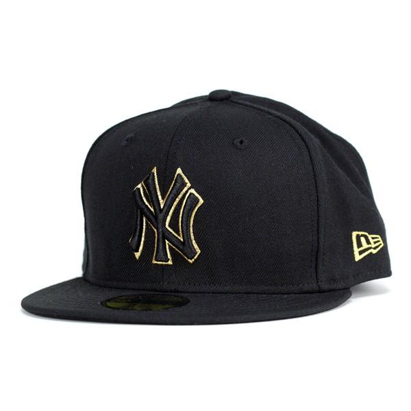 1002361600764 NEWERA Cap mens new era new era 59FIFTY NY Yankees Black / Black metallic  gold ...
